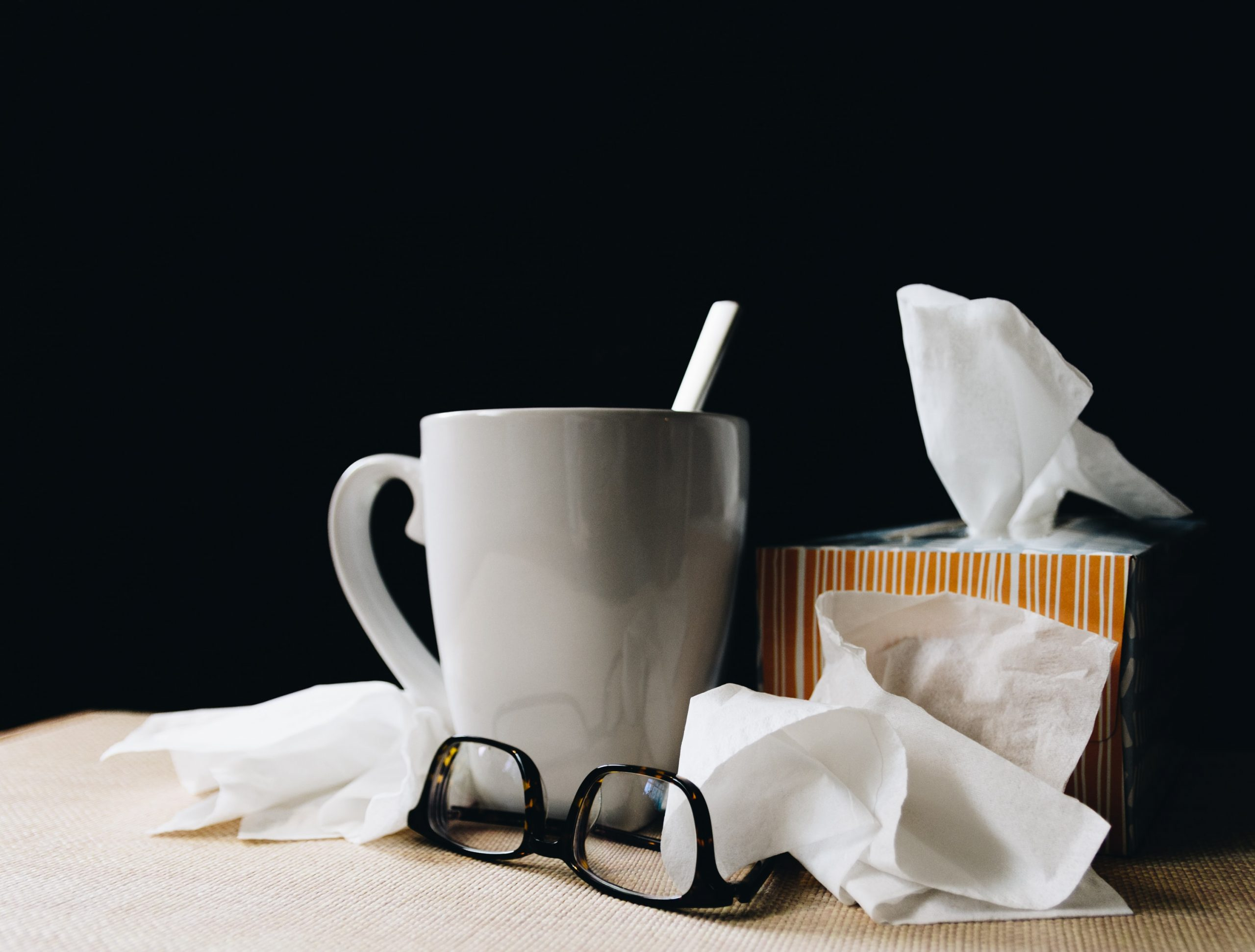 Tissues used by person who has a cold
